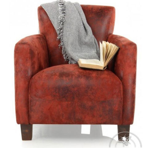 Fauteuil club tissu rouge